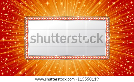 Marquee banner on shiny background - stock vector