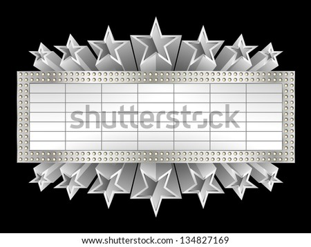 Marquee banner with stars, and realistic metal texture, EPS 10, contains transparency - stock vector