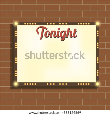 Marquee billboard/advertising border/bulbs. Blank illuminated panel for text. Illuminating marquee billboard to advertise show. Marquee banner/border for cafe/festival/show/cinema. Vector Illustration