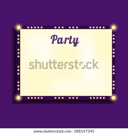 Marquee billboard, advertising border/ bulbs. Illuminated blank panel for text. Glowing  marquee billboard to advertise show. Marquee banner/border for cafe/festival/show/cinema. Vector Illustration - stock vector