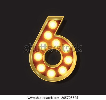 Marquee Light Letter - Vector - 6 - stock vector