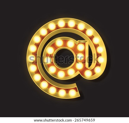 Marquee Light Letter - Vector - At Symbol for email (A) - stock vector
