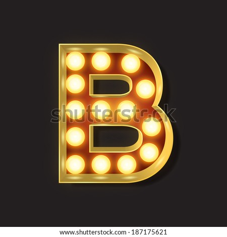 Marquee Light Letter - Vector - B - stock vector