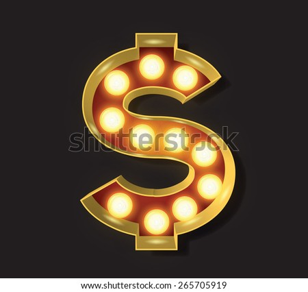 Marquee Light Letter - Vector - $ Dollar