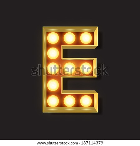 Marquee Light Letter - Vector - E - stock vector