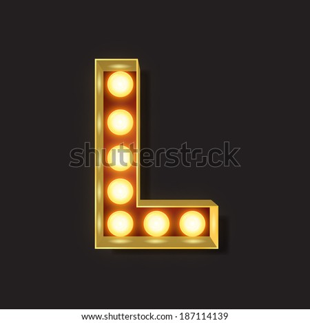 Marquee Light Letter - Vector - L - stock vector