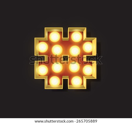 Marquee Light Letter - Vector - # number sign hash - stock vector
