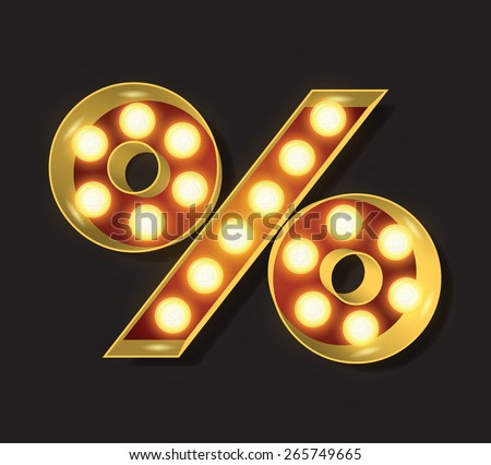 Marquee Light Letter - Vector - % percent symbol - stock vector