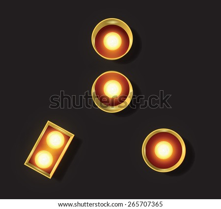 Marquee Light Letter - Vector - Punctuation, Colon, Comma, Period - stock vector