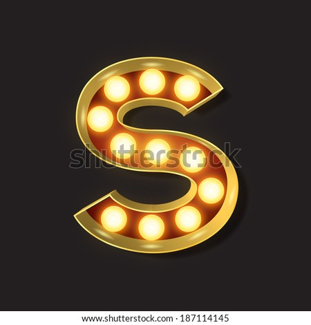 Marquee Light Letter - Vector - S - stock vector
