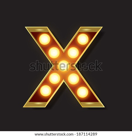 Marquee Light Letter - Vector - X - stock vector