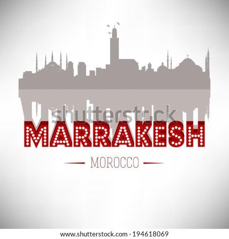 Marrakesh Morocco skyline silhouette design, vector illustration. - stock vector