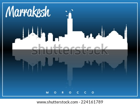 Marrakesh, Morocco, skyline silhouette vector design on parliament blue and black background. - stock vector