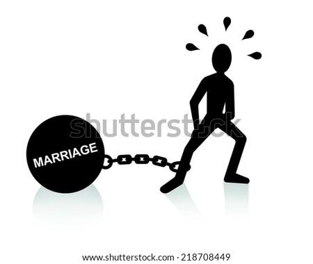 marriage burden  - stock vector