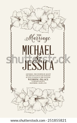 Marriage design template with custom names in square frame with exotic flowers. Vector illustration. - stock vector