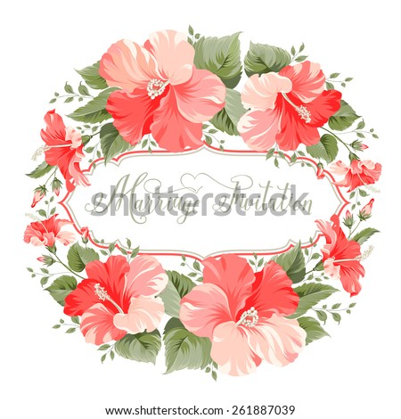Marriage invitation card with floral garland and calligraphic text. Vector illustration. - stock vector