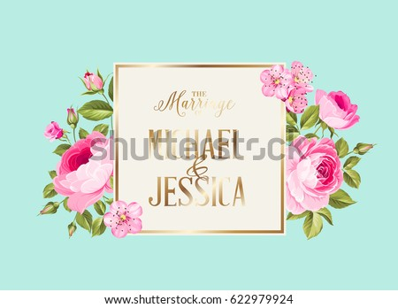 Marriage invitation card pink flowers modern stock vector royalty marriage invitation card with pink flowers modern marriage invitation card with template names and flower mightylinksfo