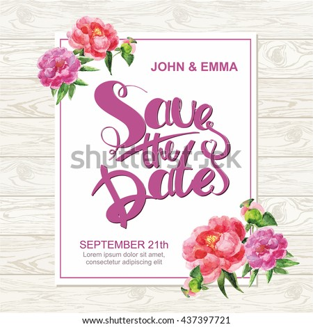 Marriage invitation card with save the date tag and watercolor flower frame over wooden background. Vector illustration. - stock vector