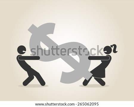 marriage money problems alimony divorce relationship couple fight vector illustration - stock vector
