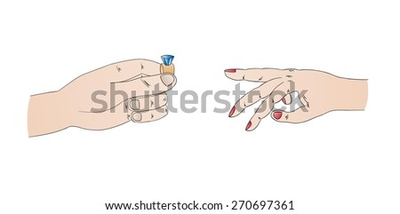 marriage proposal with ring and hands, isolated - stock vector