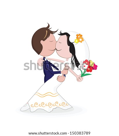 Marriage.Vector illustration of wedding kiss