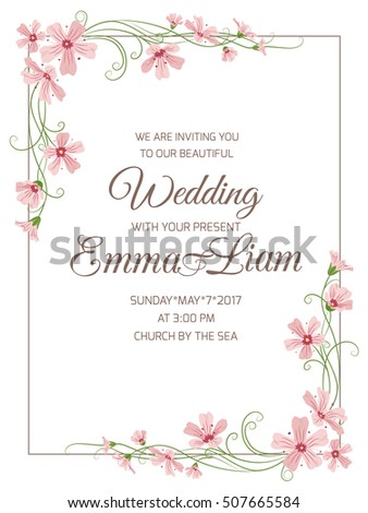 Marriage wedding invitation card template pink stock photo photo marriage wedding invitation card template pink baby breath gypsophila flowers garland corner elements rectangular stopboris Choice Image