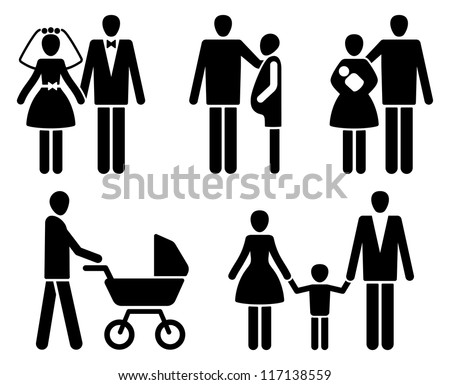 Married couple pictogrammes: wedding, pregnancy, children - stock vector