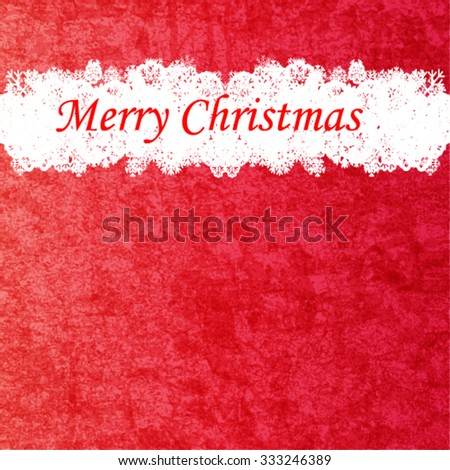 Marry Christmas and Happy New Year 2016 Celebration Red Grunge Background with Snowflake Border Frame . Invitation Card . Vector Illustration. - stock vector