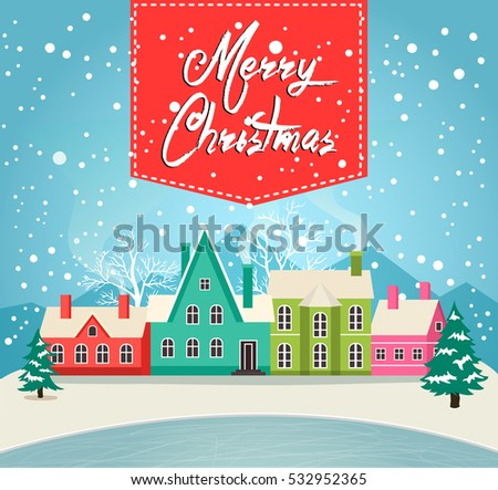 Marry Christmas greeting card vector illustration. Houses in snowfall, rural winter landscape at holiday eve. Xmas poster with christmas houses, snow covered little village, funny holiday background