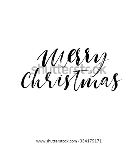 Marry Christmas hand lettering. Ink illustration. Hand drawn modern calligraphy. Handmade card. Vector typographic art. Text design of Merry Christmas. - stock vector