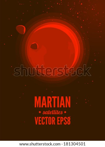 Mars and moons - stock vector
