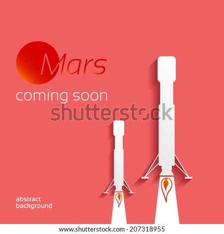 Mars, coming soon, space concept on a red background design layout for poster flyer cover brochure - stock vector