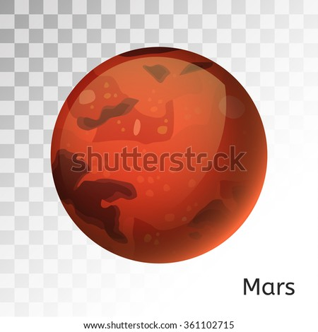 Mars planet 3d vector illustration. Globe Mars texture map. Globe vector Mars view from space. Mars illustration. Vector Mars planet. Mars planet silhouette, world map, 3d Mars  - stock vector