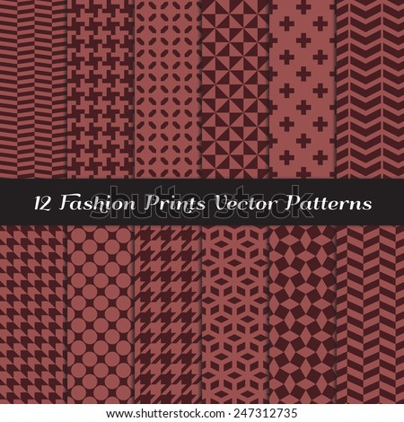 Marsala and Dark Brown Fashion Prints Patterns. Houndstooth, Herringbone, Triangle, Cross, Lattice, Polka Dot and Chevron Geometric Backgrounds. Vector File Pattern Swatches Made with Global Colors. - stock vector
