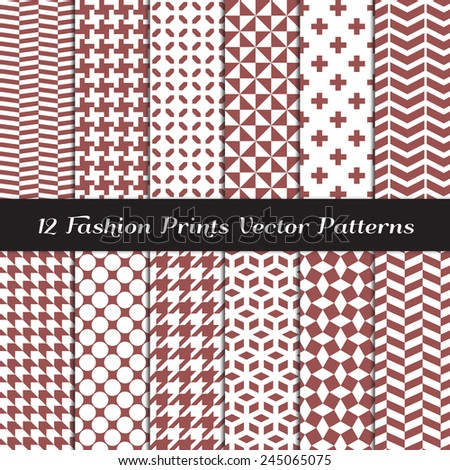 Marsala Color Fashion Prints Patterns. Houndstooth, Herringbone, Triangle, Cross, Lattice, Polka Dot and Chevron Geometric Backgrounds. Vector EPS Includes Pattern Swatches Made with Global Colors. - stock vector