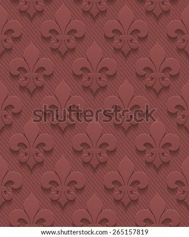 Marsala color fleur-de-lis perforated paper with cut out effect. Abstract 3d seamless background. Vector EPS10. - stock vector