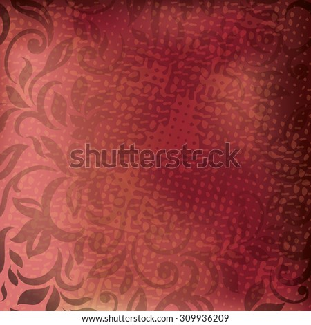 Marsala colored background with abstract floral pattern, Grunge texture. Cover design
