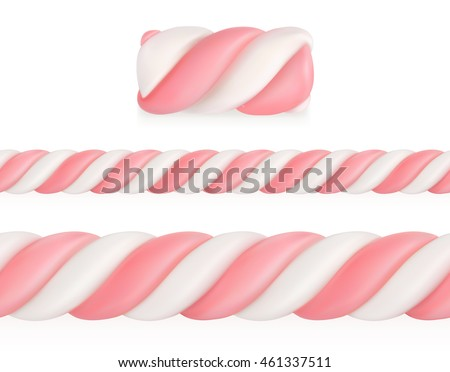 Marshmallows candy, vector seamless pattern - stock vector