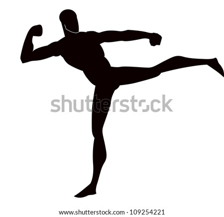 Martial Arts, Black Silhouette of a Man, Kicking, vector illustration