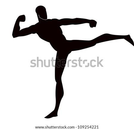 Martial Arts, Black Silhouette of a Man, Kicking, vector illustration - stock vector