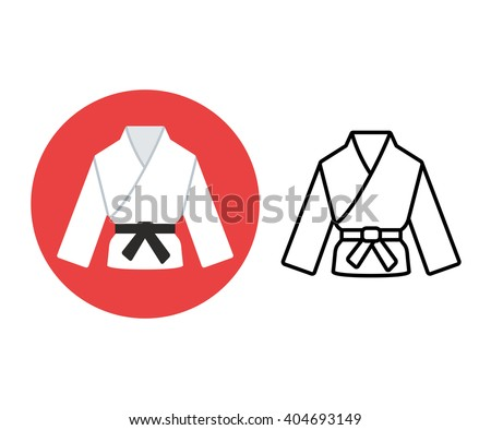 Martial arts icon. Two variants, flat color and line icon. Karate or judo uniform (gi) with black belt. - stock vector