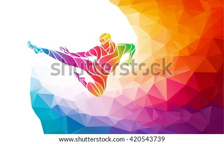 Martial arts jump kick color rainbow silhouette. Karate fighter - stock vector
