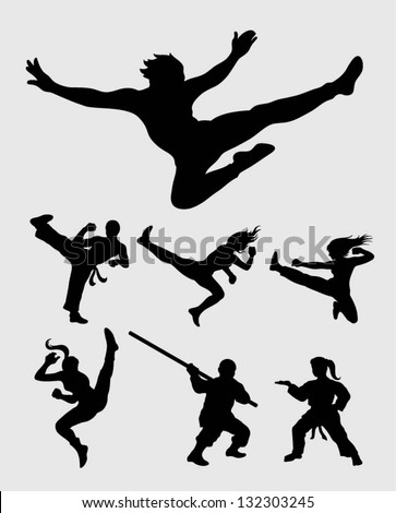 Martial Silhouettes Set. Smooth and detail silhouette vectors. Easy to change color, use Adobe Illustrator 8 or higher to edit your martial silhouettes. - stock vector