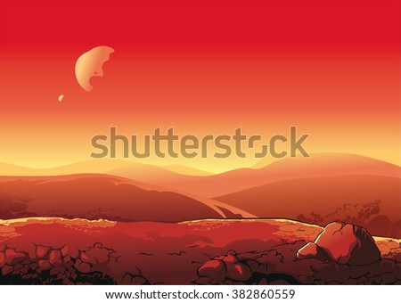 Martian landscape. View surface of Mars. - stock vector