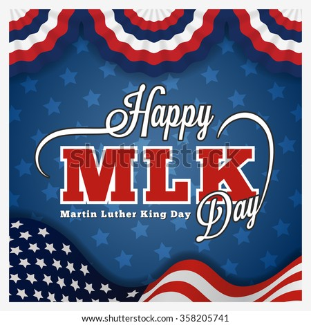 Martin luther king day greeting card and lettering on wavy american flag background. Vector illustration