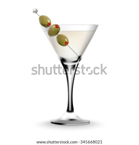 Martini cocktail in a glass with olive. Realistic alcoholic beverage. - stock vector