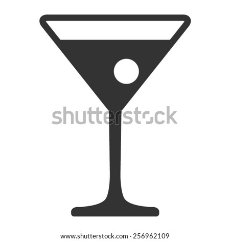 Martini cocktail with flat icon - stock vector