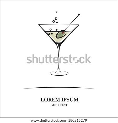 Martini glass - stock vector