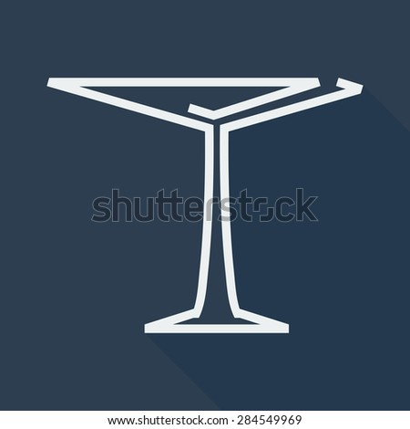 Martini Glass or for Cocktail From the Lines with Shadow.Vector illustration - stock vector