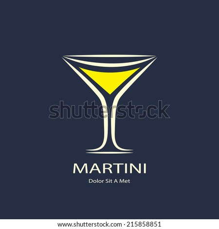 martini glass symbol. template logo design. vector eps8 - stock vector